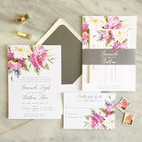 Bohemian Floral Wedding Invitation - Flat Printing - Sample