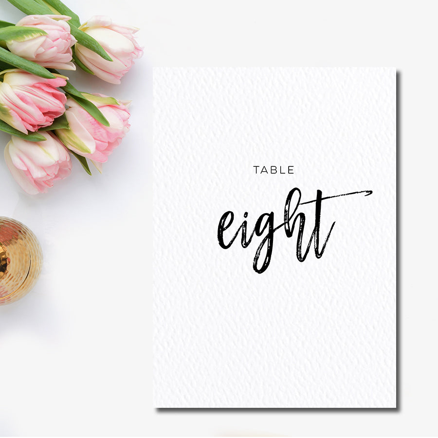 Brush Calligraphy Table Number