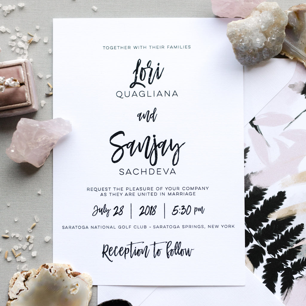 Brush Calligraphy Wedding Invitation - Thermography - Sample