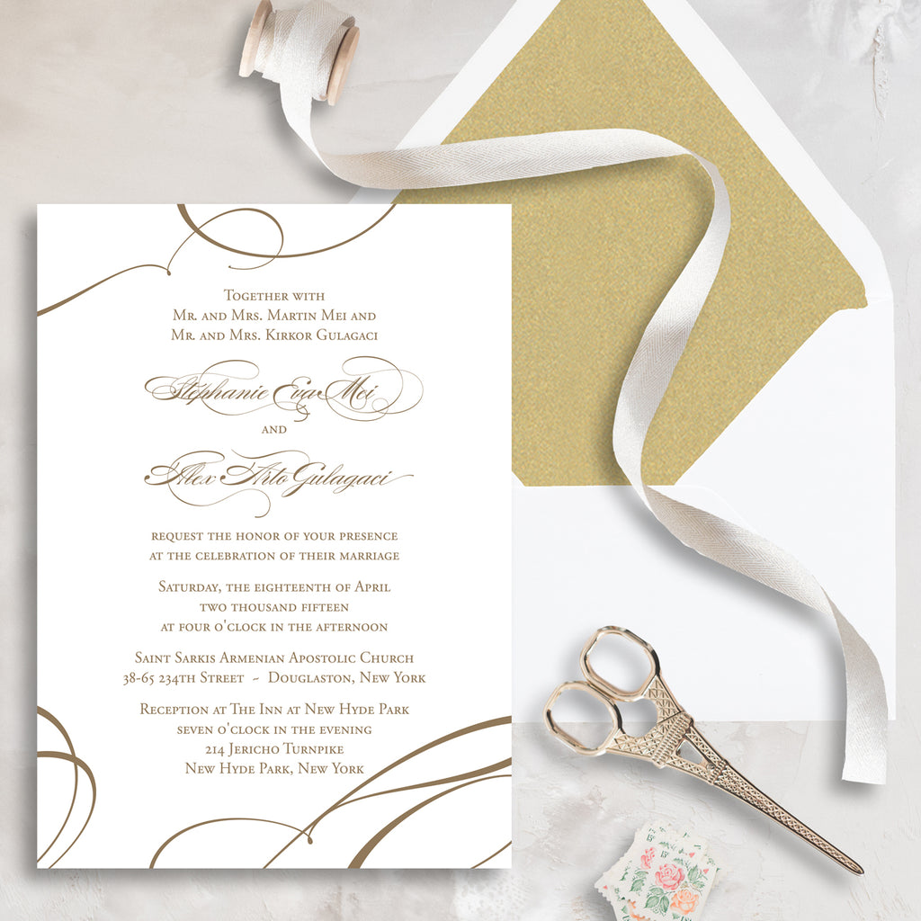 Ribbon Wedding Invitation - Thermography - Sample