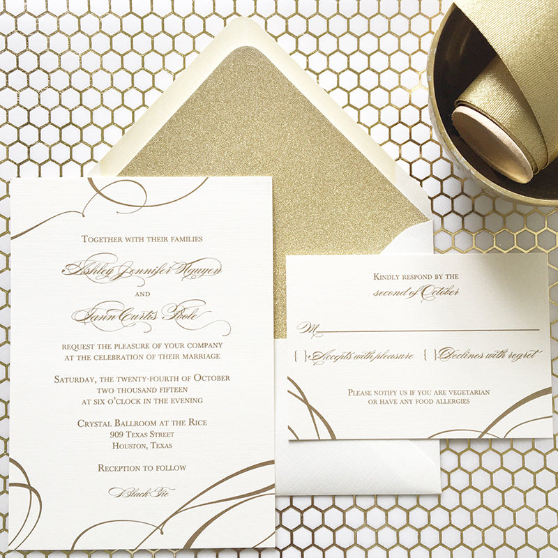 Ribbon Wedding Invitation - Thermography