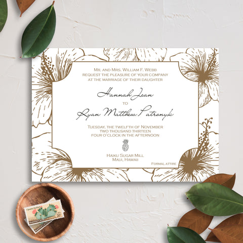 Hawaiian Wedding Invitation - Thermography - Sample