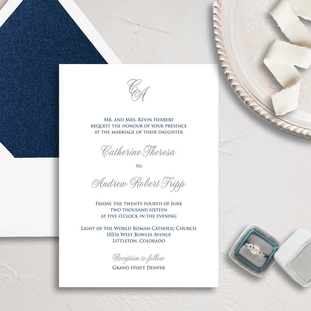 Initials Wedding Invitation - Thermography - Sample