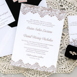 Vintage Lace Wedding Invitation - Thermography - Sample