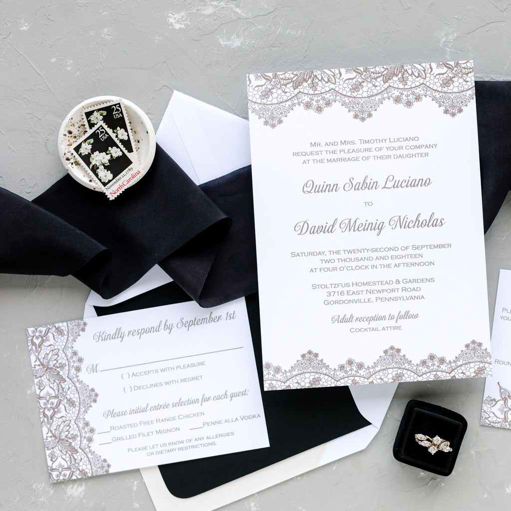Lace Wedding Invitation in Black and Metallic Gold