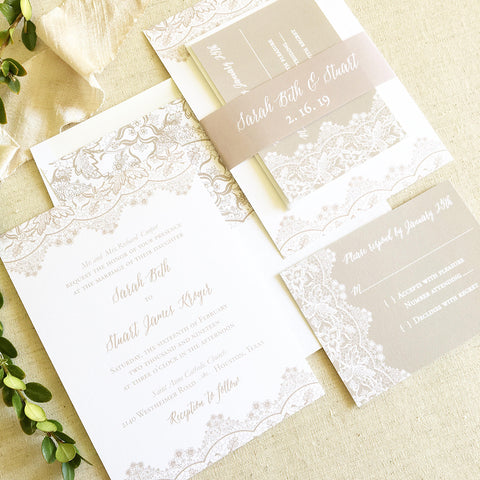 Lace Wedding Invitation - Flat Printing