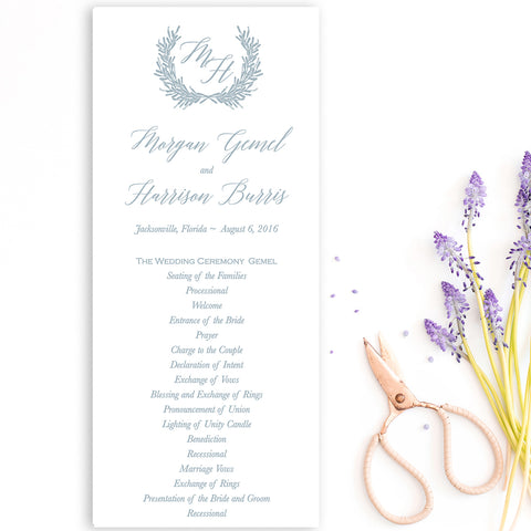 Laurel Wreath Wedding Program