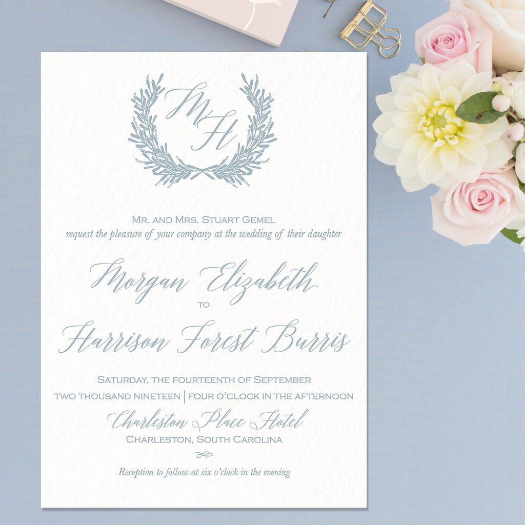 Laurel Wreath Wedding Invitation - Flat Printing