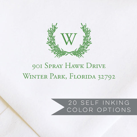 Laurel Wreath Monogram Address Stamp