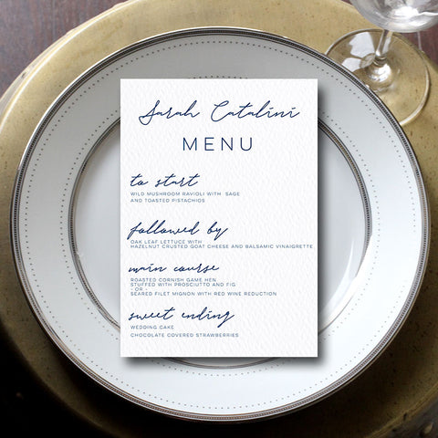 Custom Personalized Wedding Menu