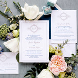 Monogram Wreath Wedding Invitation - Thermography - Sample