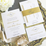 Monogram Wreath Wedding Invitation - Flat Printing