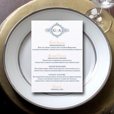 Monogram Wreath Wedding Menu