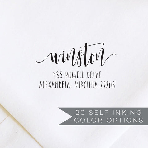 Script Calligraphy Address Stamp