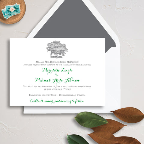 Oak Tree Wedding Invitation - Thermography