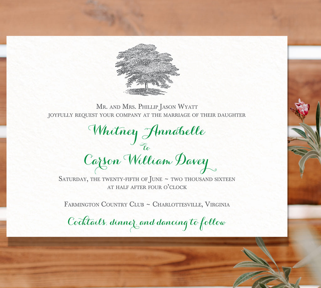 Oak Tree Wedding Invitation - Flat Printing