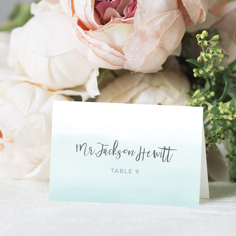 Turquoise Blue Ombre Place Card