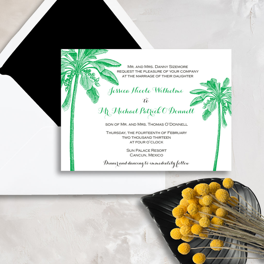 Double Palm Tree Wedding Invitation - Thermography - Sample