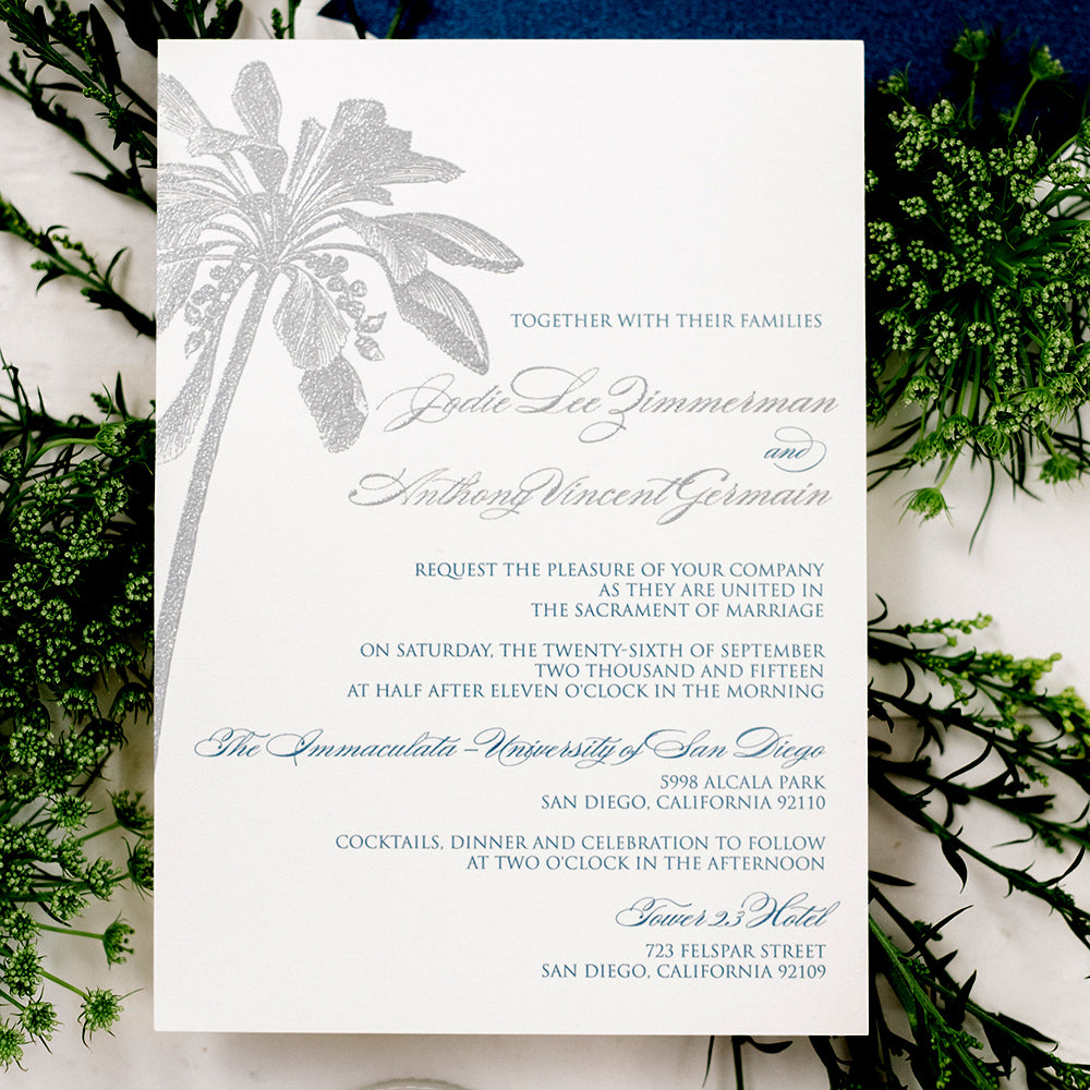 Destination Wedding Invitation Palm Tree - Thermography - Sample