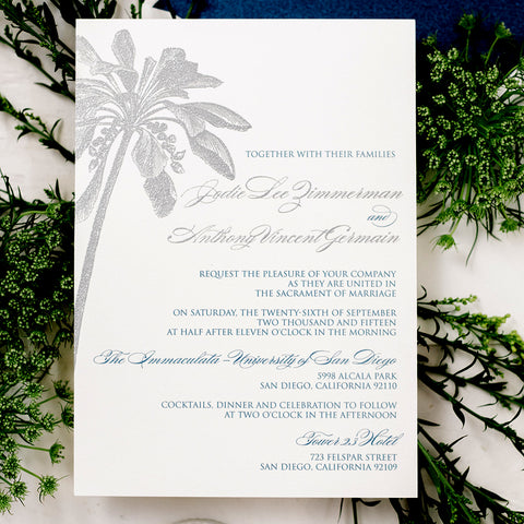 Destination Wedding Invitation Palm Tree - Thermography