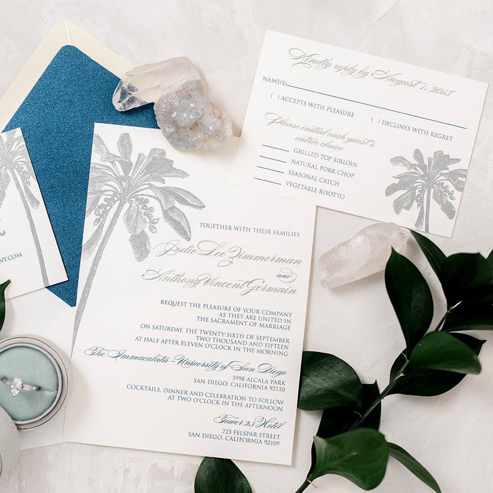 Navy Silver Beach Wedding Invitation with Palm Tree