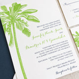 Navy and Green Beach Wedding Invitation with Palm Tree
