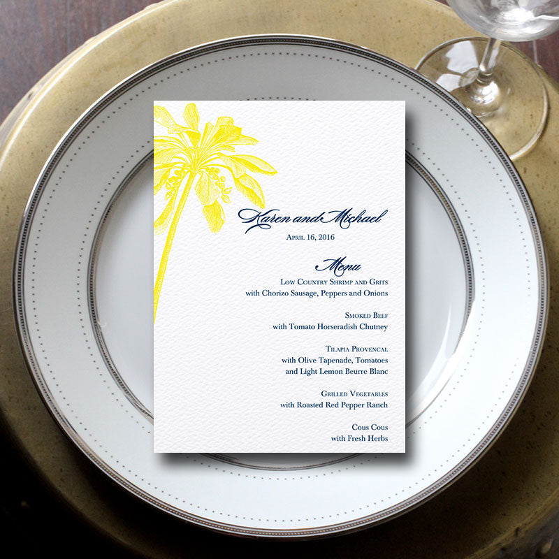 Palm Tree Wedding Menu