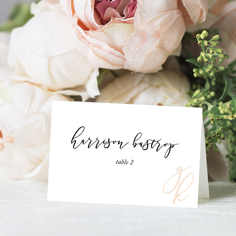 Modern Calligraphy Initials Place Card