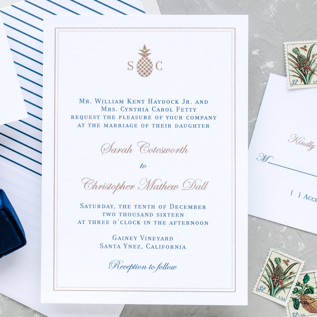 Pineapple Wedding Invitation with Monogram - Thermography - Sample