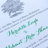 Oak Tree Wedding Invitation - Thermography - Sample