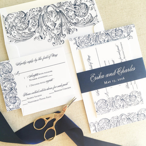 Vintage Romantic Wedding Invitation - Flat Printing