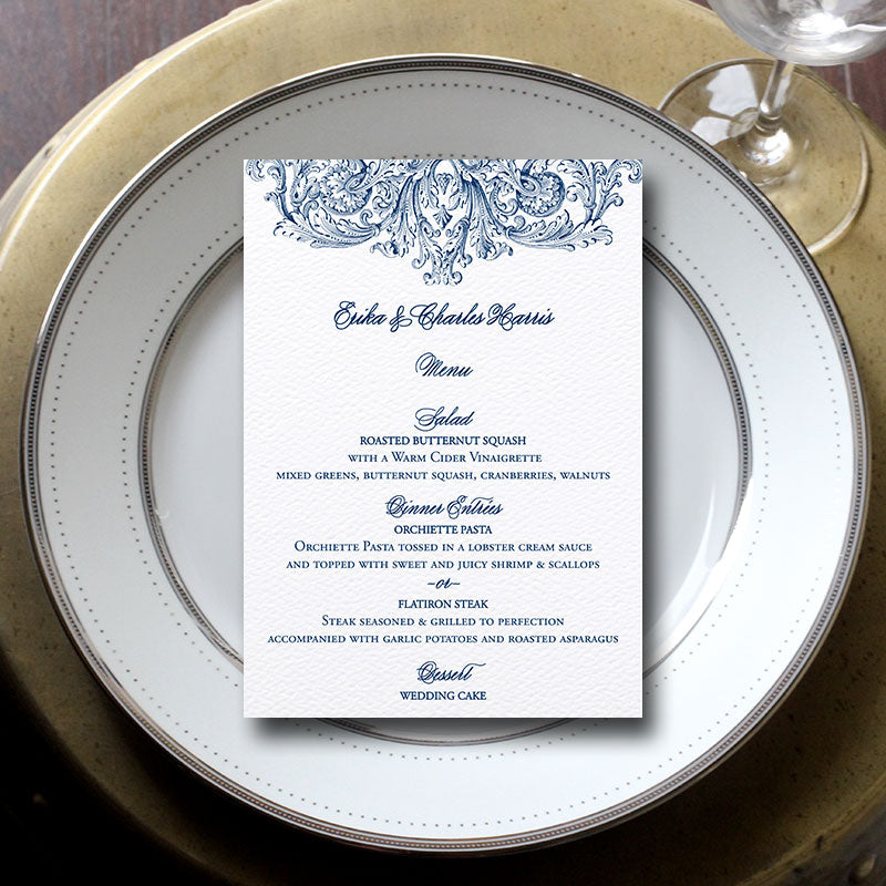 Vintage Romantic Wedding Menu