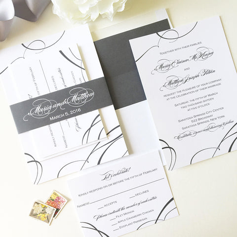 Ribbon Wedding Invitation - Flat Printing