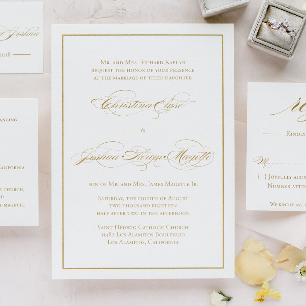 simple border wedding invitation - thermography