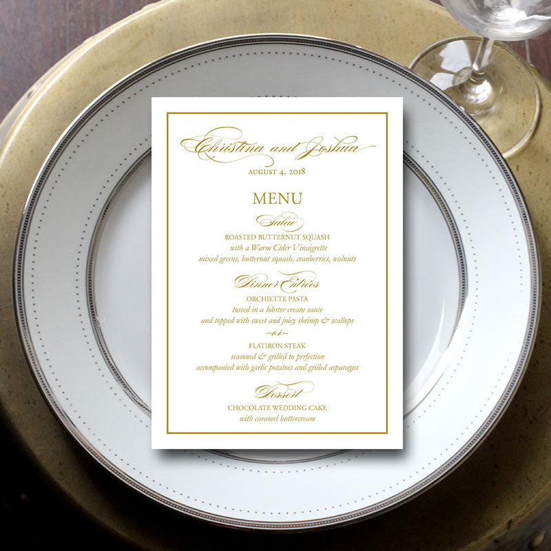 Simple Border Wedding Menu