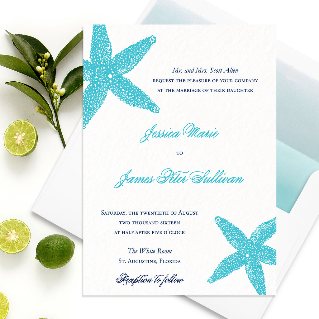 Starfish Beach Wedding Invitation - Flat Printing