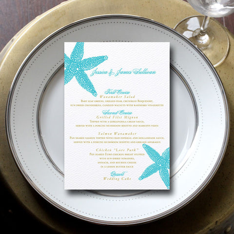 Starfish Wedding Menu