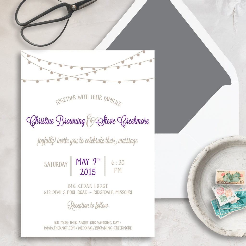 String of Lights Wedding Invitation with Grey Envelope Liner