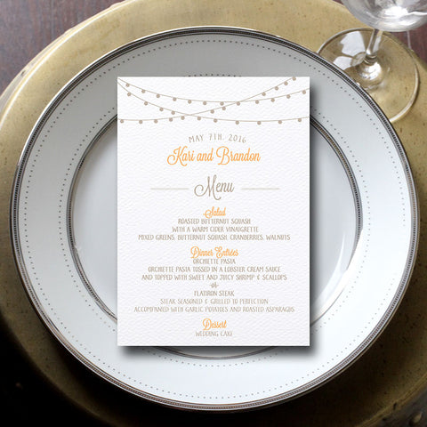 String of Lights Wedding Menu