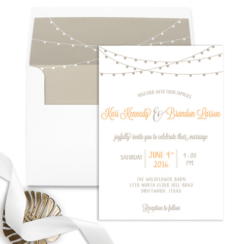 String of Lights Wedding Invitation - Flat Printing