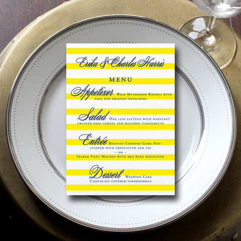 Preppy Stripe Wedding Menu