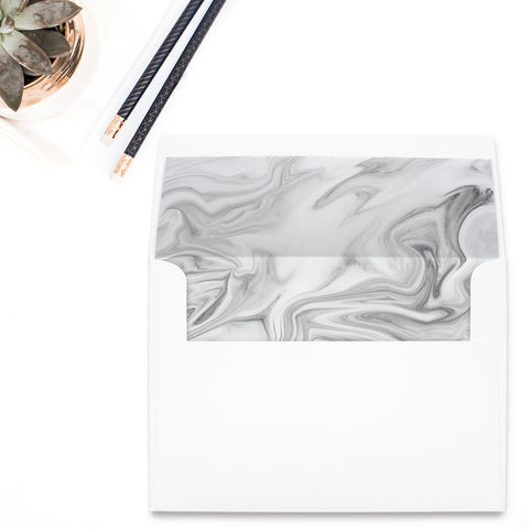 Black and White Marble Envelope Liner