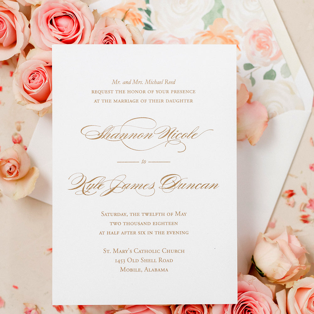 Elegant Gold Wedding Invitation - Thermography - Sample