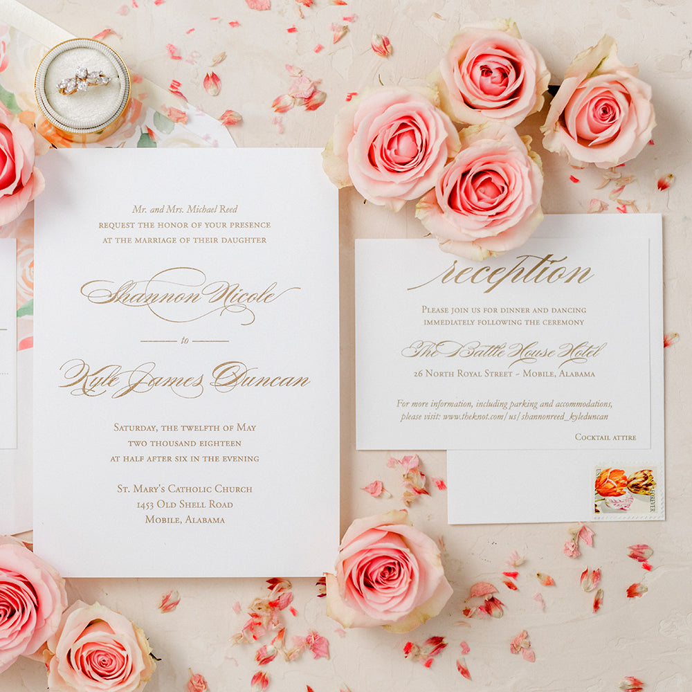 Elegant Gold Wedding Invitation with Thermography Printing