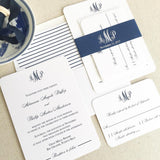 Navy Monogram Wedding Invitation