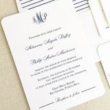 Elegant Monogram Wedding Invitation - Flat Printing