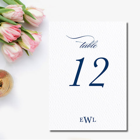 Traditional Monogram Table Number
