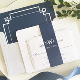 Traditional Monogram Wedding Invitation - Flat Printing - Sample