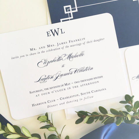 Traditional Monogram Wedding Invitation - Flat Printing