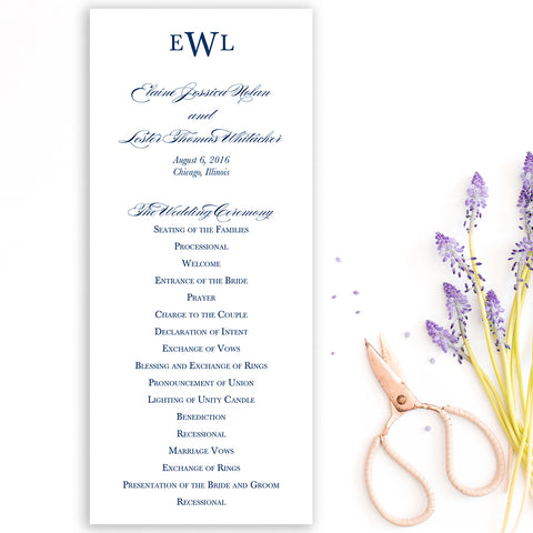 Traditional Monogram Wedding Program
